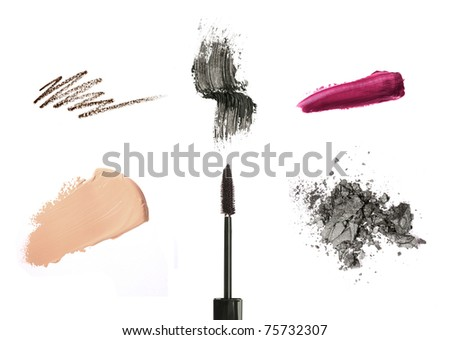 Cosmetic products isolated on white: mascara, lip gloss or lipstick, concealer, eyeliner - stock photo