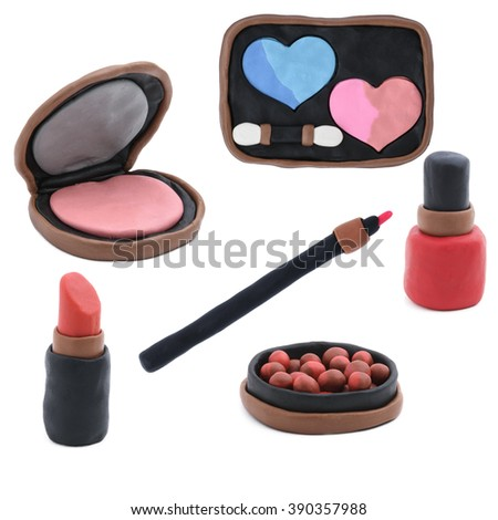 Cosmetic products made of plasticine - stock photo