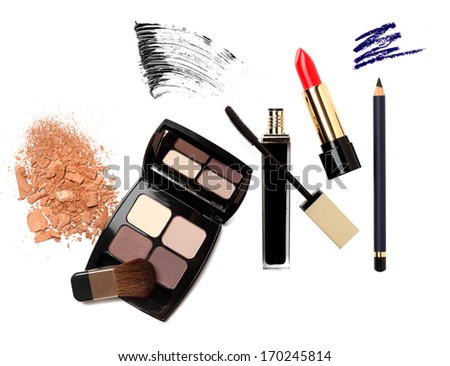 Cosmetic products with sample strokes isolated on white. - stock photo