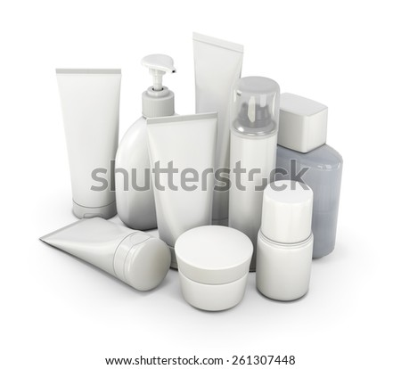 Cosmetic set from various means on a white background. 3d illustration. - stock photo