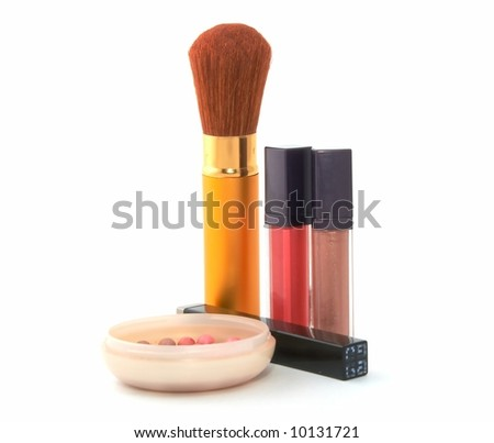 Cosmetic set - ink, brushes, lipstick, ink
