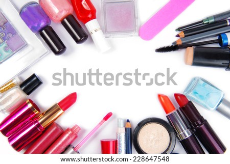 cosmetic set isoalted frame background - stock photo