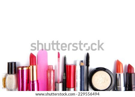 cosmetic set isolated frame border  background - stock photo