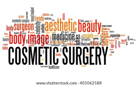 Cosmetic surgery - beauty improvement. Word cloud concept. - stock photo