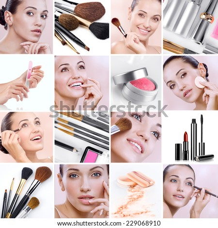 Cosmetic theme collage composed of different images - stock photo