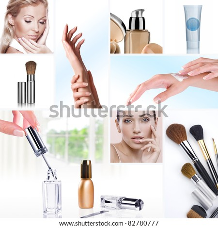 Cosmetic theme collage composed of different images
