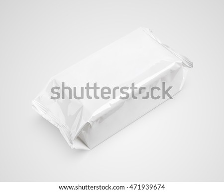 Cosmetic wet wipes big package on gray background with clipping path