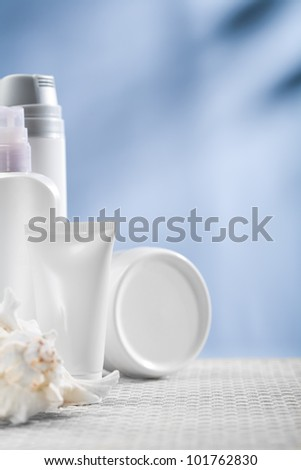 cosmetical tube and bottles - stock photo