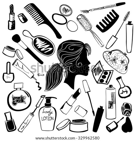 Cosmetics And Beauty Products Icon Set Hand Drawn