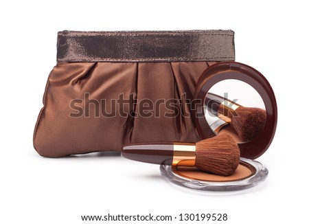 Cosmetics bag and Powder on a white background - stock photo
