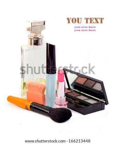 cosmetics isolated on white background. Pink lipstick, mascara, - stock photo