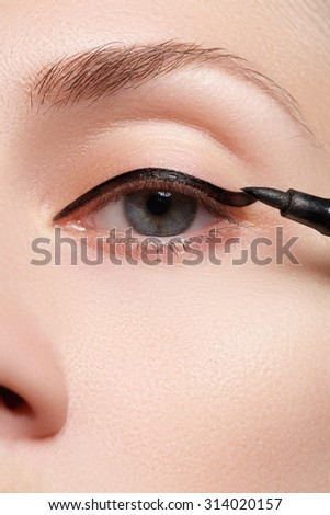 Cosmetics & make-up. Beautiful female eye with sexy black liner makeup. Fashion arrow shape on woman's eyelid.