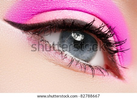 Cosmetics & make-up. Beautiful female eye with summer makeup. �¡lean look