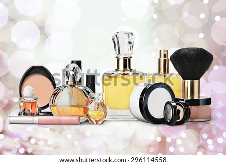 Cosmetics, Make-up, Perfume. - stock photo