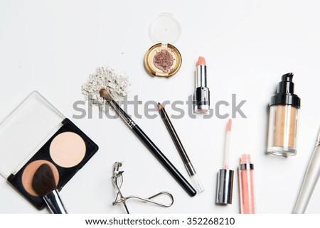 cosmetics, makeup and beauty concept - close up of makeup stuff - stock photo