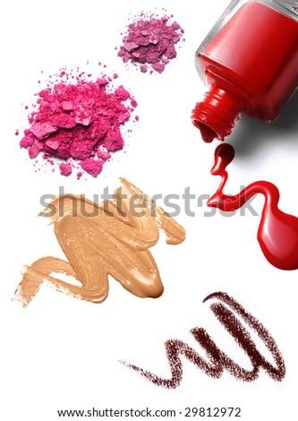 cosmetics: nail polish, foundation, crushed eye shadow. white background, isolated objects - stock photo