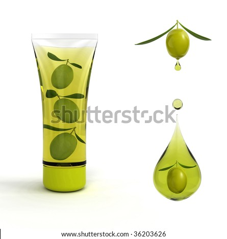 Cosmetics olive and olive with drop of oil on white - stock photo