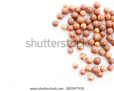 Cosmetics rouge balls isolated on white background empty space for text - stock photo