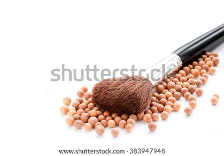 Cosmetics rouge balls with a brush isolated on white background empty space for text - stock photo
