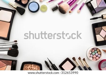 Cosmetics set on white background  - stock photo