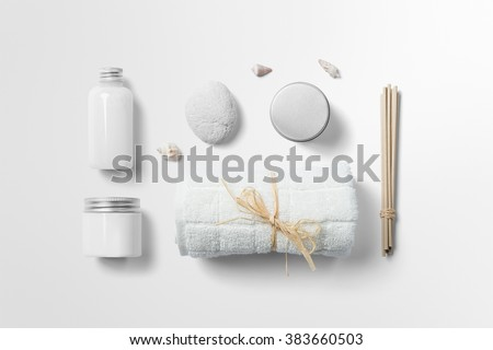Cosmetics SPA branding mock-up, top view, on white background, place you design