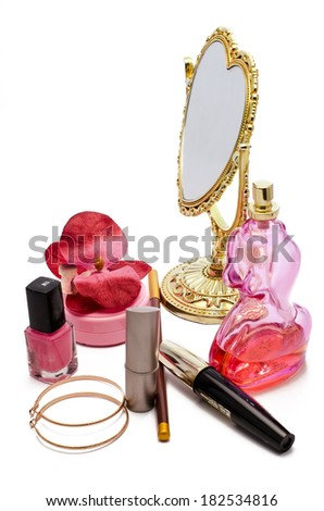 cosmetics with a mirror on a white background