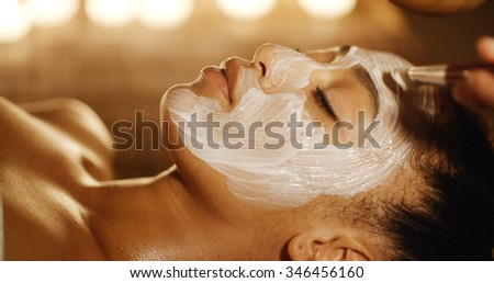 Cosmetologist smears cosmetic mask on the face of the woman in the spa salon - stock photo