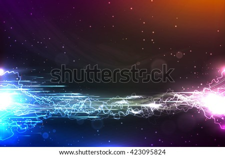 Cosmic abstract background with energy flow and lightning. Template for business presentations with empty space for your text.