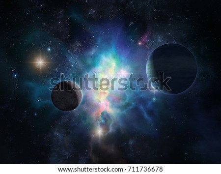 Cosmic background with the two distant planets against the bright nebula