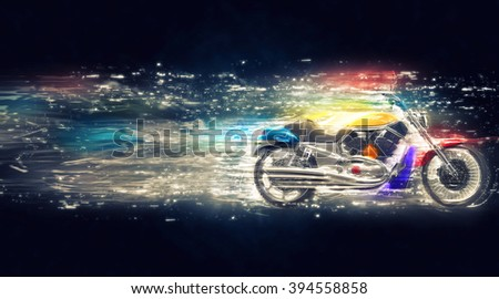 Cosmic colorful bike - stock photo