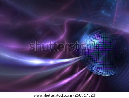 Cosmic Disco Ball - Abstract Futuristic Background - stock photo