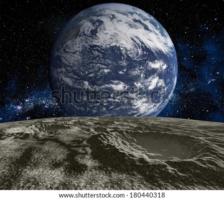 Cosmic landscape, view from the moon. Elements of this image furnished by NASA