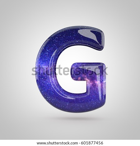 cosmic letter g uppercase 3 d render stock illustration 601877456