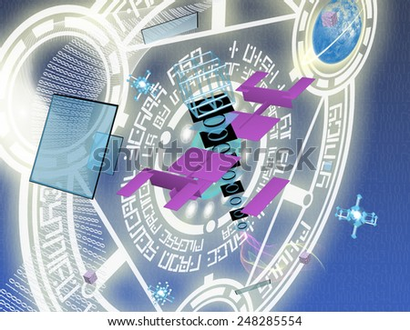 Cosmic technologies.Communications - stock photo