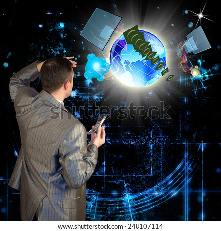Cosmic telecommunication digital connection - stock photo