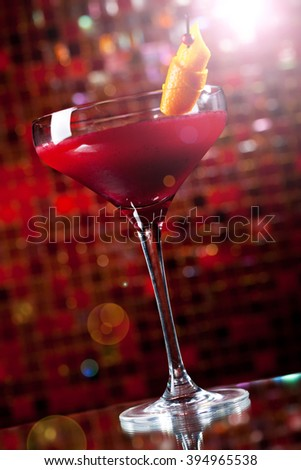 Cosmopolitan - Alcoholic Cocktail made from Vodka, Cointreau, Lime Juice and Cranberry Juice - stock photo