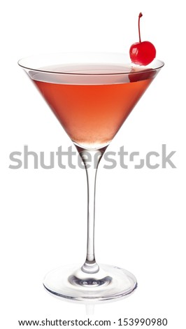 Cosmopolitan cocktail on white background - stock photo