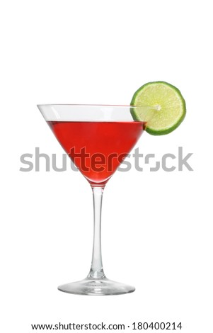 Cosmopolitan cocktail with lime cutout, isolated on white background