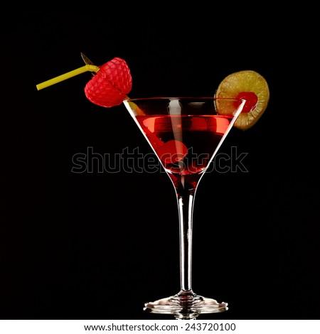 cosmopolitan martini fresh Cocktail isolated on black, studio - stock photo