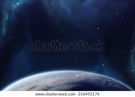Cosmos Earth Horizon - Scene Design - stock photo