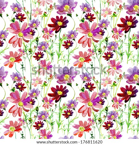 cosmos flowers  isolated on white background. watercolor seamless pattern. - stock photo