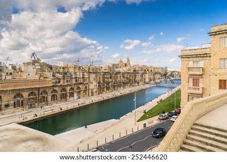 Cospicua waterfront in Valletta - stock photo