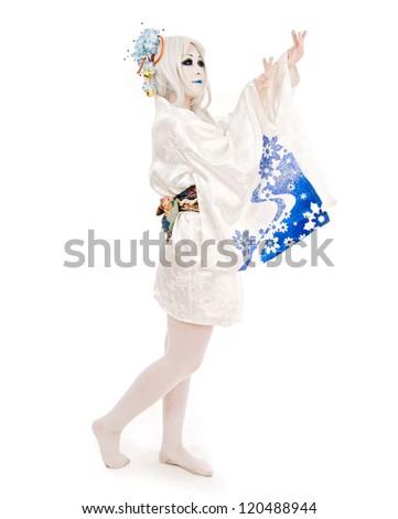 cosplay snow girl - stock photo