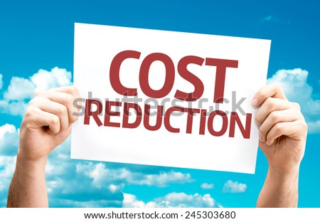 Cost Reduction card with sky background - stock photo