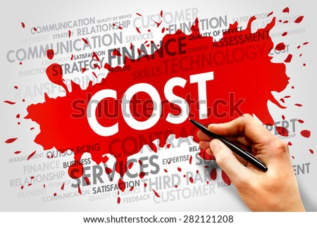 Cost word cloud, business concept - stock photo