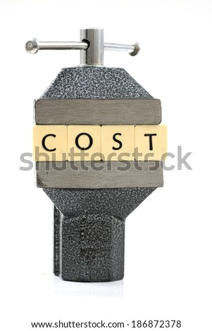 Cost word pressed. - stock photo