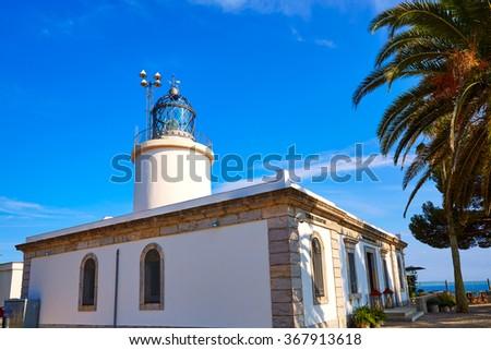 Costa Brava San Sebastian Lighthouse far Girona of Catalonia Spain - stock photo