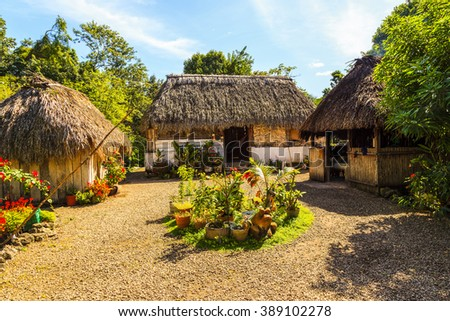 COSTA MAYA MEXICO Jan 29 2016: Mayan home  in the Yucatan The traditional and still functional Mayan home estate. The Mayans are welcoming echo tourist in their estate. - stock photo