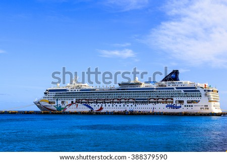 COSTA MAYA MEXICO JAN 30 2016:Norwegian Down, docked in Costa Maya, Mexico. Costa Maya is a perfect place for visitor since many attractions awaiting on this perfect tropical paradise.