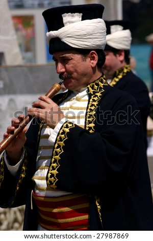 COSTA MESA, CA - APRIL 4 : Turkish musician marching band performs at the Anatolian Cultures and Food Festival at the Orange Country Fair Grounds April 4, 2009 in Costa Mesa, CA.